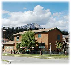 Block's Accommodation, Jasper: a view from across the street.