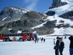 One of the main attractions of Jasper National Park in the summer is the chance to take a coach out onto the Columbia Icefields.